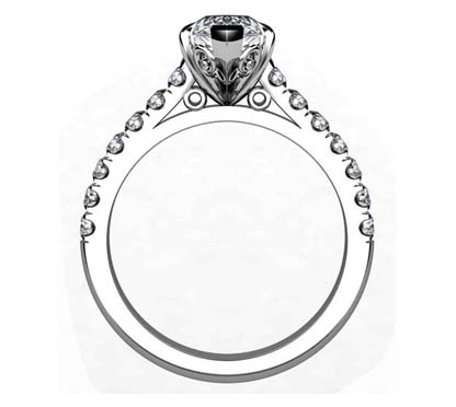 Marquise Shaped Diamond Engagement Ring with Filigree Detailing 3 2