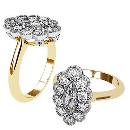 Marquise Vintage Style Halo Diamond Ring 1 1 2