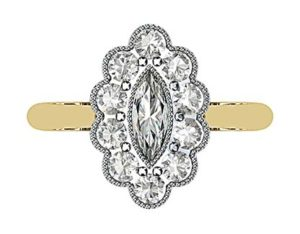Marquise Vintage Style Halo Diamond Ring 2 2