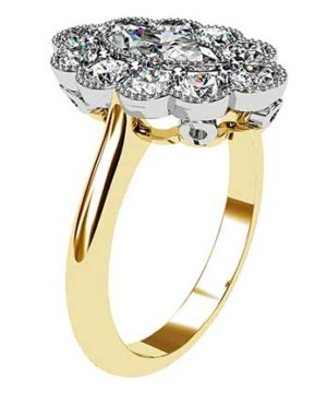 Marquise Vintage Style Halo Diamond Ring 4 2