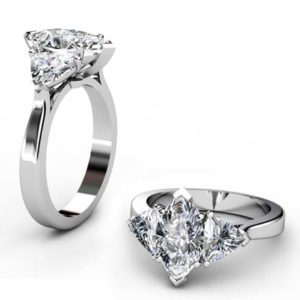 Marquise and Heart Shaped Diamond Three Stone Engagement Ring 1 1