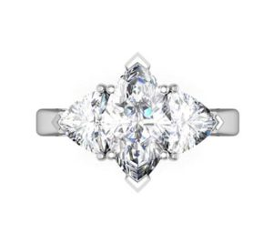 Marquise and Heart Shaped Diamond Three Stone Engagement Ring 2 1