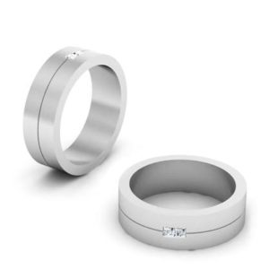 Mens Double Princess Cut Wedding Band 1