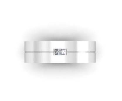 Mens Double Princess Cut Wedding Band 4