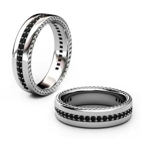 Mens rope and black diamond wedding ring 1