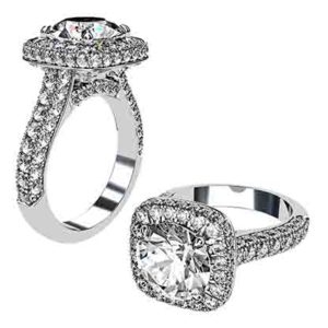 Micro Pave Set Round Brilliant Cut Halo Ring 1 2