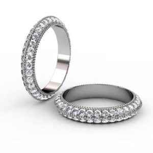 Milgrain Beaded Diamond Eternity Band with Knife Edge Band 1