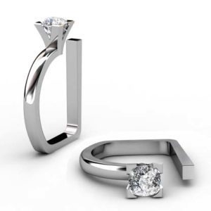 Modern Style Round Diamond Assymetrical Engagement Ring 1 2