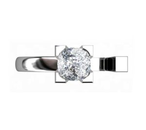 Modern Style Round Diamond Assymetrical Engagement Ring 2 2