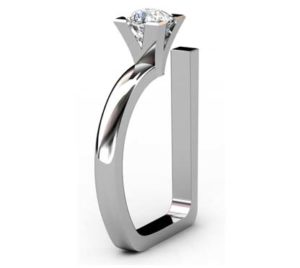 Modern Style Round Diamond Assymetrical Engagement Ring 4 2