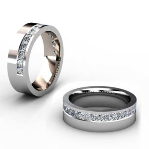 Modern princess cut channel wedding ring 1