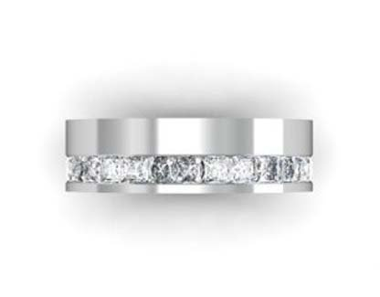 Modern princess cut channel wedding ring 2