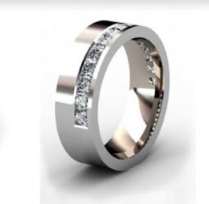 Modern princess cut channel wedding ring 4
