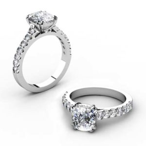 One Carat Cushion Cut Diamond Engagement Ring 1 1 2
