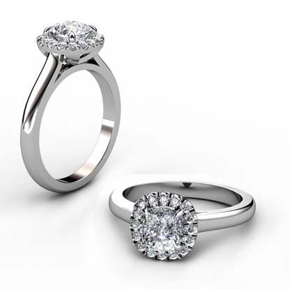 One Carat Cushion Cut Diamond Engagement Ring 1 3
