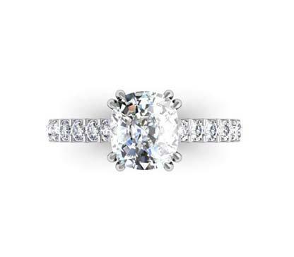One Carat Cushion Cut Diamond Engagement Ring 2 1 2