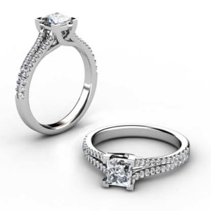 One Carat Princess Cut Diamond Engagement Ring with Split Shank 1 2
