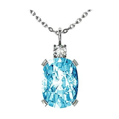 Oval Aquamarine and Diamond Pendant 1 1