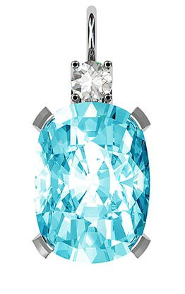 Oval Aquamarine and Diamond Pendant 2 2
