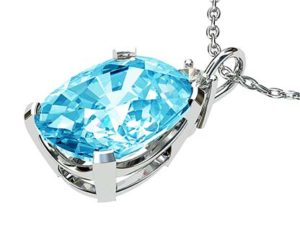 Oval Aquamarine and Diamond Pendant 3 2