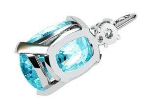 Oval Aquamarine and Diamond Pendant 4 2
