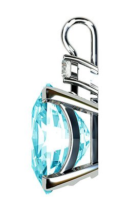 Oval Aquamarine and Diamond Pendant 5 2