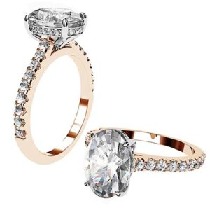 Oval Cut Diamond Ring with Hidden Halo 1 2