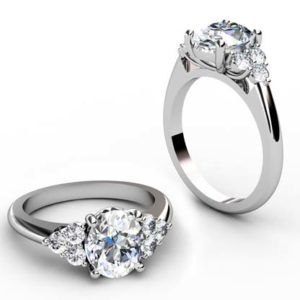 Oval Diamond Engagement Ring with Cluster Side Diamonds 1 1
