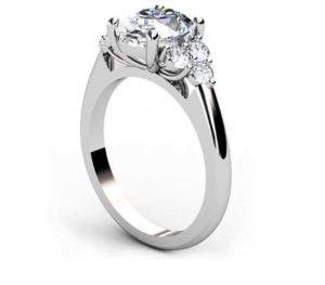Oval Diamond Engagement Ring with Cluster Side Diamonds 4 2