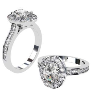 Oval Diamond Halo Engagement Ring with Channel Set Diamond Band 1 3