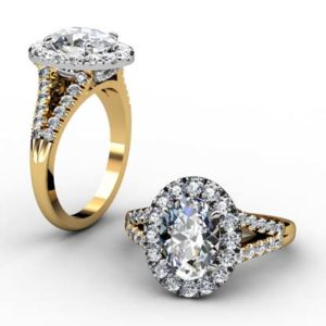 Oval Diamond Yellow Gold Halo Engagement Ring with Split Shank 1 2