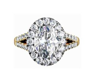 Oval Diamond Yellow Gold Halo Engagement Ring with Split Shank 2 2