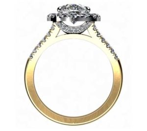 Oval Diamond Yellow Gold Halo Engagement Ring with Split Shank 3 2