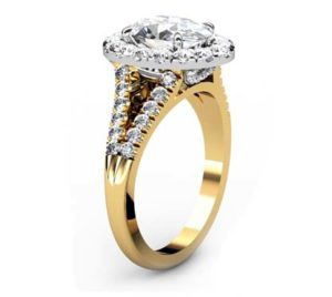 Oval Diamond Yellow Gold Halo Engagement Ring with Split Shank 4 2