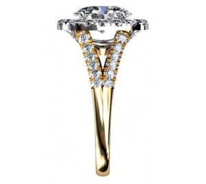 Oval Diamond Yellow Gold Halo Engagement Ring with Split Shank 5 2