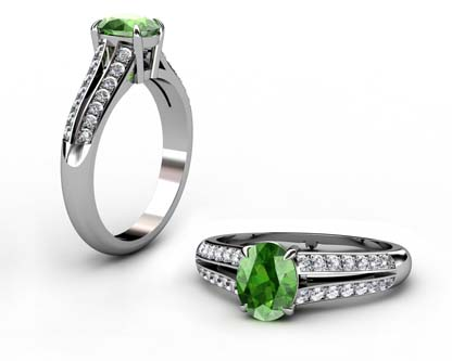 Oval Emerald Engagement Ring with Diamond Split Shank 1 2