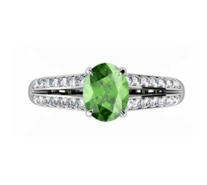 Oval Emerald Engagement Ring with Diamond Split Shank 2 2