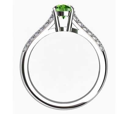 Oval Emerald Engagement Ring with Diamond Split Shank 3 2