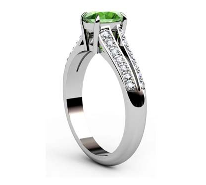 Oval Emerald Engagement Ring with Diamond Split Shank 4 2