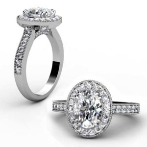 Oval Shaped Diamond Halo Engagement Ring with Diamond Encrusted Half Band 1 2