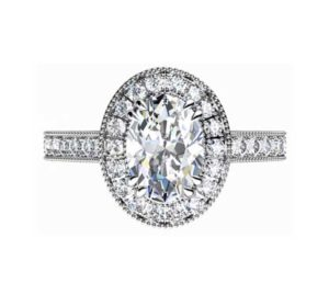 Oval Shaped Diamond Halo Engagement Ring with Diamond Encrusted Half Band 2 2