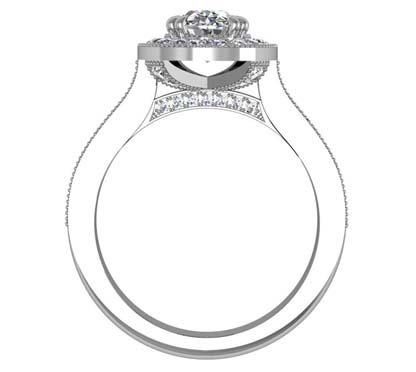 Oval Shaped Diamond Halo Engagement Ring with Diamond Encrusted Half Band 3 2