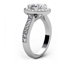 Oval Shaped Diamond Halo Engagement Ring with Diamond Encrusted Half Band 4 2