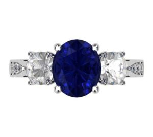 Oval Shaped Sapphire Three Stone Engagement Ring 2 2