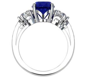Oval Shaped Sapphire Three Stone Engagement Ring 3 2