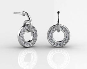 Pave Set Circle of Diamond Earrings 1 2