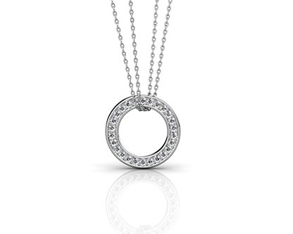 Pave Set Circle of Diamonds Pendant 1 2