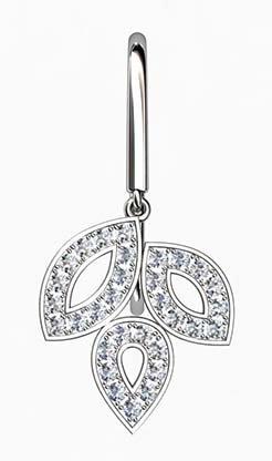 Pave Set Diamond Leaf Drop Earrings 2 2