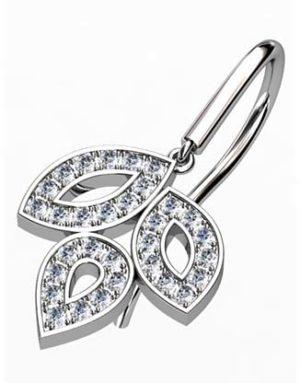 Pave Set Diamond Leaf Drop Earrings 3 2