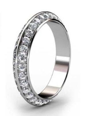 Pave set knife edge diamond ring 3